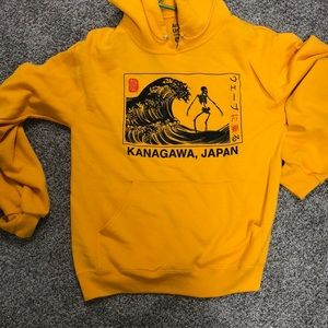 Japanese Text Yellow Hoodie